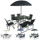 8pc Outdoor Garden Patio Furniture Set 6 Folding Chairs Glass Table & Parasol