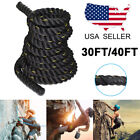Battle Rope 30ft/40ft Poly Dacron Cardio Exercise Workout Strength Training Rope