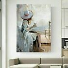 Woman+by+Seaside+Oil+Painting+Printed+Canvas+Wall+Art+Wrapped+30mm+Wooden+Frame+