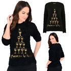 Christmas Wishes Womens Prosecco Sequin Xmas Jumper Ladies Knitted Festive Top
