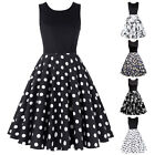 Belle Poque Retro Sleevelss Crew Neck Patchwork Flare A-Line Party Picnic Dress