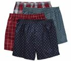 Stafford Men's 4-Pack 100 Cotton Woven Boxer Shorts Navy Burgundy