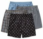 Stafford Men's 4-Pack 100 Cotton Woven Boxer Shorts Blue Gray