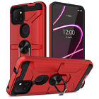 For T-Mobile Revvl 5G/4+/4 Shockproof Silicone Case Cover with Ring Stand Holder