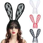 Black Sexy Lace Rabbit Bunny Ears Headband Halloween Costume Carnival F3T3