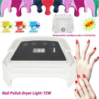 LED/UV Nail Lamp Light Gel Polish Nail Dryer Wireless Rechargeable 72W