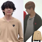 New BTS V Taehyung Heart Applique Cardigan Knit Sweater Kpop Fashion Outfit