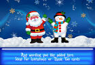 Christmas Party Thank you or invitation card Personalised A6 Xmas Santa snowman