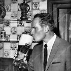 8b20-14987 Charlton Heston drinking tall glass of beer in beer boot stein 8b20-1