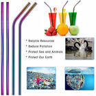 10 pcs Reusable Stainless Steel Metal Drinking Straw Straws 2 Cleaner Brush US