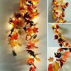 Halloween LED Lights Autumn Fall Maple Leaves Garland Home Hanging Plant O1B1