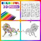 3D Coloring Painting Puzzle Set 4 Animals Puzzles with 12 Pen Markers Kid Toys
