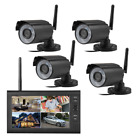 "7"" Wireless Monitor 2.4GHz 4CH CCTV DVR Kit Cameras Audio Security System NEW"