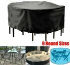 Garden Furniture Cover Round Table Chair Waterproof Oxford Super Large Black