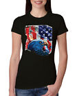 Patriotic Eagle American Flag American Pride Womens Slim Fit Junior Tee