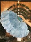 """Baby blue Marabou Ostrich Feather fan with Travel Bag 21"""" x 38"""""""