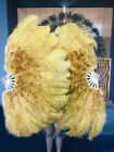 """topaz Ostrich  Marabou Feathers fan 27""""x 53"""" with Travel leather Bag"""