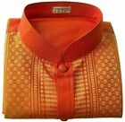 Men's Shirt Mandarin Collar Traditional Thai Silk Thread Orange Short Sleeve New