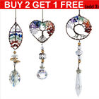 Hanging Crystal Suncatcher Life Tree Stone Beads Prism Pendant Home Decor Gifts