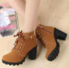 Ladies Chunky High Heels Boots Casual Winter Round Toe Lace Up Platform Shoes