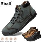 Men's Hand Stitching Leather Loafers Walking Moccasins Lace Up Dress Ankle Boots