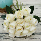 18 Heads Fake Roses Bride Holding Flowers Artificial Bouquet Wedding Home Decor