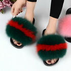 Women's Luxury Fluffy Raccoon Fur Slippers Slides Colorful Indoor Sandal Shoes
