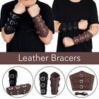 Medieval Men Cosplay PU Leather Armor Lace-Up Viking Knight Wristband Bracer