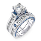 925 Sterling Silver Simulated Sapphire Engagement Rings for Women Wedding Ring S