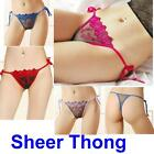 Floral Embroidery Sheer Thong String Tied Side Lingerie Panty Womens Sexy Tie
