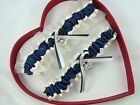 Free SH New Navy Blue Ivory Anchor Wedding Garter Prom