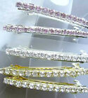"2 Barrettes 2.25"" secure clasp 30 3mm Rhinestones color Silver plated"