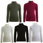 New Girls Ribbed Top - Polo Roll Neck Jumper 2-13 Years