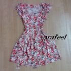 Floral Print red green white cream yellow ruffle frill sundress belt top vintage