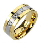 Titanium Elegant Men's Gold Ion Plated Striped 3-CZ Band Ring Size 9-13