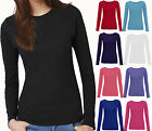 Ladies Womens Girls Plain Casual Long Sleeves Jersey Top T Shirt Size 6 8 10 12