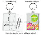50 x Blank Clear Photo Keyrings (Large Passport Square Round) Acrylic Wholesale