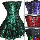 Charming! Sexy Burlesque Satin/Party Corset Bustier+Skirt+G-String lingerie set