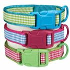Dog Collar East Side Collection Gingham Sweeties Dog Collars blue green pink