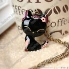 Lovely Black Cat With Pink Flower Charm Chain Necklace Bronze Style