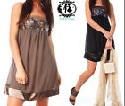 SEQUIN BUST LADY PARTY EVENING DRESS BANDEAU TUNIC MINI TOP SHIFT CLUB GOING OUT