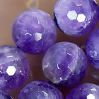 """12mm Faceted Natural Amethyst Round Beads 15"""""""