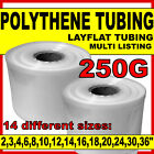 Layflat polythene poly tubing tube *ALL SIZES & QTYS* clear- 250 GAUGE 336M roll