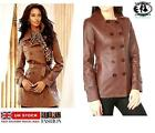 MILITARY LEATHER JACKET ARMY BIKER BLAZER CARDIGAN TOP BLOUSE COAT MAC VINTAGE