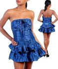 Sexy Stunning Navy Tiered Belted  Min Club Cocktail Dress 3 Sizes