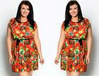 LADIES PLUS SIZE 16-28 SHIFT DRESS COLOURFUL SUMMER BLOUSE TUNIC TOP SKATER XXL