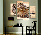 Leopard Lying In Wait Modern Art On Canvas Prints Set Of 4 Wall Clock FRAMED