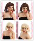 40's 50's Womens Auburn Ginger Brown Blonde Pin Up Girl Wartime Wig Fancy Dress