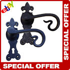 BLACK ANTIQUE DOOR HANDLE LEVER LOCK BACKPLATE CURLY TAIL POWDER COATED IRON NEW