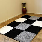 SMALL - EXTRA LARGE THICK BLACK SILVER GREY WHITE IVORY BLOCKS SHAGGY RUG